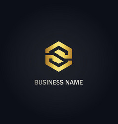 s initial polygon company gold logo vector image