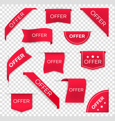 sale and offer red banners ribbons and labels vector image