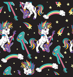 seamless pattern with cool unicorns with guitar vector image