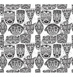 seamless pattern with hand drawn fancy masks vector image