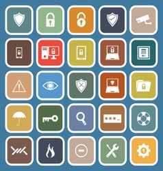 Security flat icons on blue background vector image