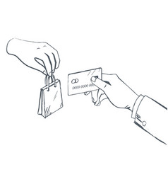 Selling and buying item paying with card vector