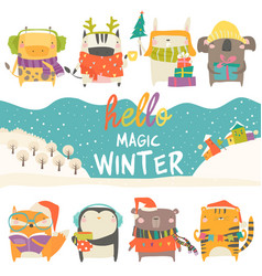 Set cute animals with winter theme on white vector