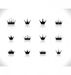 set of black crowns vector image