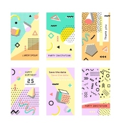 Set of creative universal cards Memphis Trendy vector