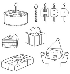set of happy birthday vector image