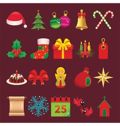 Set of icons and symbols of Christmas accessories vector