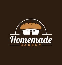 Simple vintage style homemade bakery logo design vector
