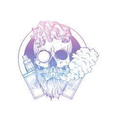 Sketch hipster skull with vaporizer cigarette vector