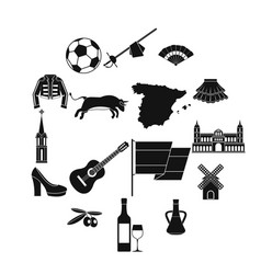 spain travel icons set simple style vector image