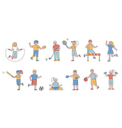 sportsmen flat line people character vector image