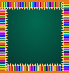Square frame made of colorful rainbow pencils on vector