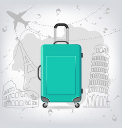 Travel bag with different travel elements vector