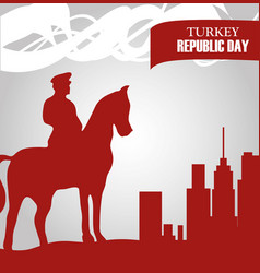 Turkey republic day soldier riding in horse vector