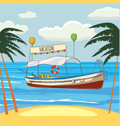 vacations leisure boat palm banner vector image