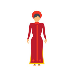 Vietnam woman icon flat style vector