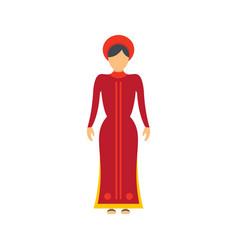 Vietnam woman icon flat style vector