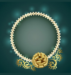 vintage gold frame with white pearls and gold bow vector image