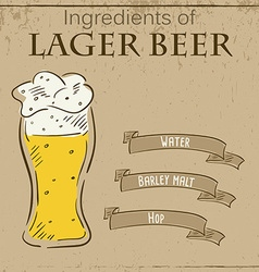 Vintage of card with recipe of lager beer vector