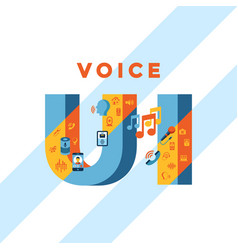 Voice user interface icon set vector