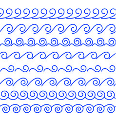 Wave contour brushes vector