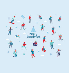 Winter holidays characters happy people skiing vector