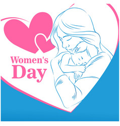 womens day mom son heart frame woman blue backgrou vector image