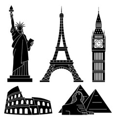 World landmarks eiffel tower statue of liberty vector