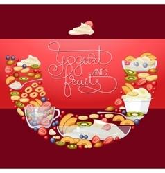 yogurt fruit and berry round banner vector image