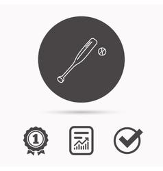 Baseball bat with ball icon Professional sport vector image vector image