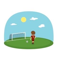 Cartoon boy practice kicking on training football vector image