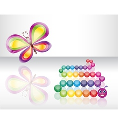 Isolated butterfly and caterpillar vector image vector image