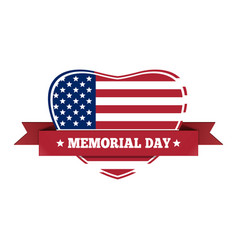 memorial day design us flag in the shape of heart vector image vector image