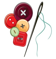 Needle and buttons vector image