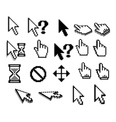 Pixel cursor icons in black and white vector image