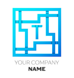 realistic letter t logo in colorful square maze vector image vector image