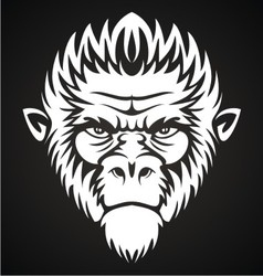 White Monkey Face vector image vector image