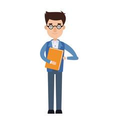 businessman holding a folder employee work vector image