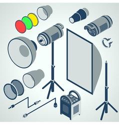 Flash studio professional strobe element set vector