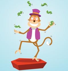 Monkey juggling money vector image