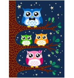 owl family design vector image vector image
