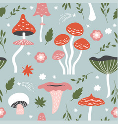seamless pattern with whimsical mushrooms vector image vector image