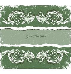 vintage grunge floral frame vector image vector image