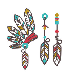 authentic injun hat with feathers and magical vector image vector image