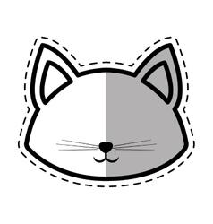 face cat pedigree feline adorable dot line shadow vector image vector image