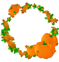 Halloween round frame with pumpkins and leaves vector image