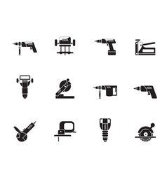 Silhouette Building and Construction Tools icons vector image