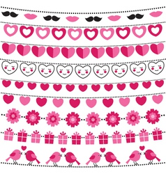 Valentine bunting flags set vector image