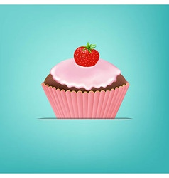 Cupcake With Cream And Strawberry vector image vector image