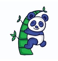 Panda with bamboo cartoon funny vector image vector image